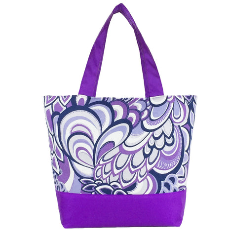Purple Swirled Paisley with Light Purple Nylon Essential Tote Bag by Tutenago - The perfect women's oversized tote bag for work, beach, shopping or an everyday bag.