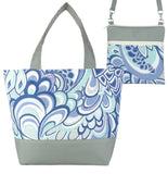 Grey Swirled Paisley with Grey Nylon Tote Bag Set by Tutenago - The perfect women's oversized tote bag set to use as a diaper bag, or  beach bag with wet bag