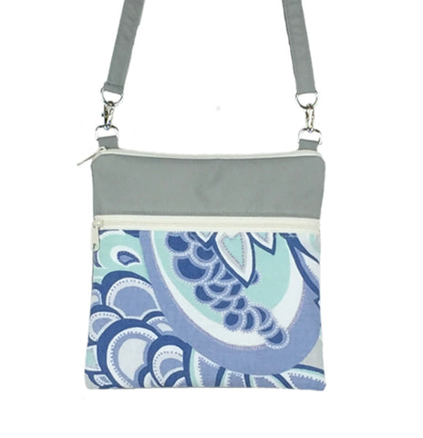 Grey Swirled Paisley with Grey Nylon Mini Square Crossbody Bag by Tutenago