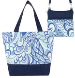 Grey Swirled Paisley with Navy Nylon Essential Tote Bag Set  by Tutenago - The perfect women's oversized tote bag set to use as a diaper bag, or  beach bag with wet bag