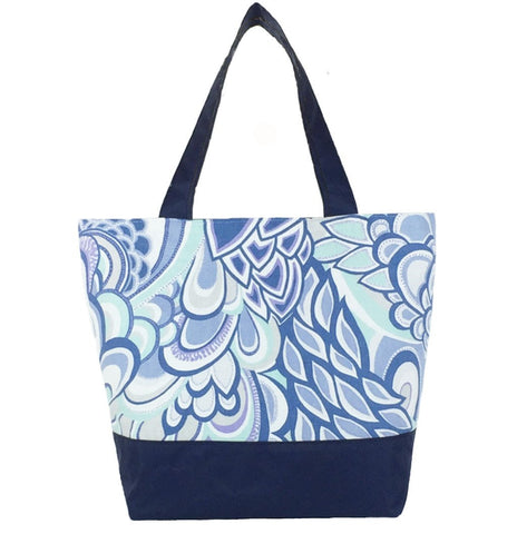 Grey Swirled Paisley with Navy Nylon Essential Tote Bagby Tutenago - The perfect women's oversized tote bag for work, beach, shopping or an everyday bag.