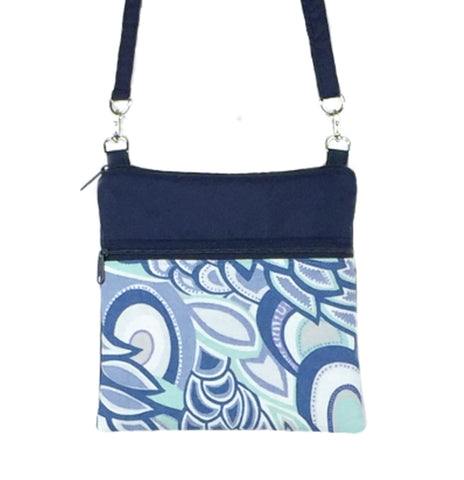 Grey Swirled Paisley | Navy Nylon | Mini Square | Photo