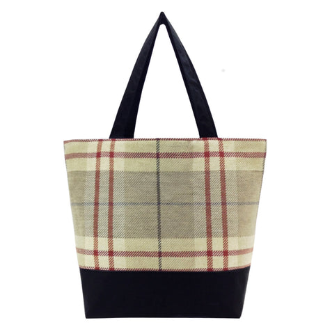 Tan Plaid with Waterproof Black Nylon Essential Tote Bag by Tutenago - The perfect women's oversized tote bag for work, beach, shopping or an everyday bag.