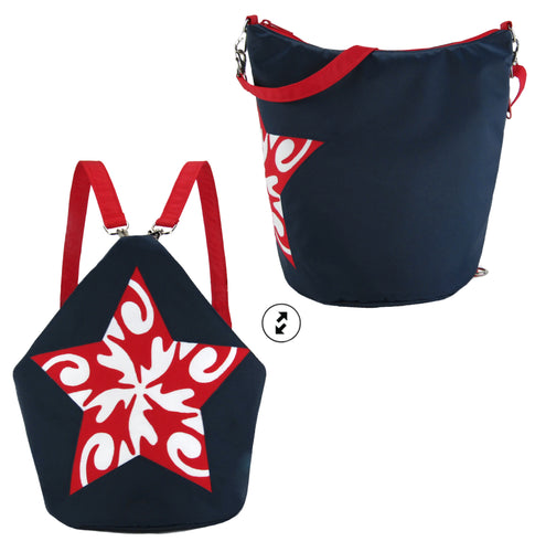 Iconic Star Convertible Backpack Purse Bucket Bag Applique Waterproof Nylon in Red, White and Blue