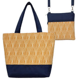 Wavy Dots in Orange | Navy Nylon | Tote Bag Set