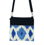 Ikat with Navy Waterproof Nylon Ready-To-Ship Mini Square Crossbody Bag by Tutenago