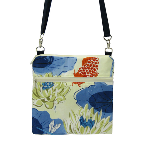 Koi Fabric with Navy Waterproof Nylon Ready-To-Ship Mini Square Crossbody Bag by Tutenago