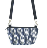 Navy Wavy Dots with Waterproof Navy Nylon Ready-To-Ship  Traveler Waist Bag and Small Crossbody Purse by Tutenago