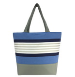 Blue Stripe with Waterproof Navy Nylon Ready-to-ship Essential Tote Bag by Tutenago - The perfect women's oversized tote bag for work, beach, shopping or an everyday bag.