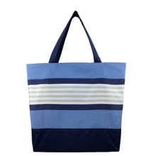 Load image into Gallery viewer, Navy Stripe with Waterproof Navy Nylon Ready-To-Ship Essential Tote Bag by Tutenago - The perfect women's oversized tote bag for work, beach, shopping or an everyday bag.