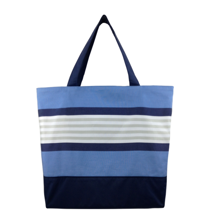 Navy Stripe with Waterproof Navy Nylon Ready-To-Ship Essential Tote Bag by Tutenago - The perfect women's oversized tote bag for work, beach, shopping or an everyday bag.
