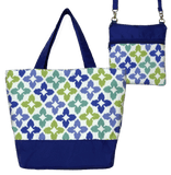 Novia in Blue & Green with Blue Nylon Essential Tote Bag Set by Tutenago - The perfect women's oversized tote bag for work, beach, shopping or an everyday bag.