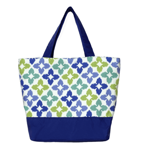 Novia in Blue & Green with Blue Nylon Essential Tote Bag by Tutenago - The perfect women's oversized tote bag for work, beach, shopping or an everyday bag.