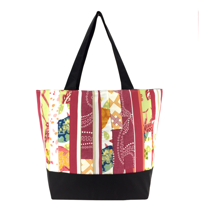 Pierce Fabric with Waterproof Black Nylon Ready-To-Ship Essential Tote Bag by Tutenago - The perfect women's oversized tote bag for work, beach, shopping or an everyday bag.
