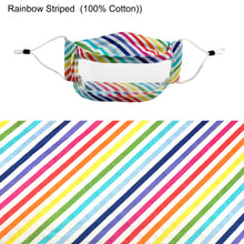 Load image into Gallery viewer, Rainbow Striped Transparent Window Mask