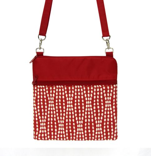 Red Wavy Dots fabric with waterproof Red Nylon Ready-to-ship  Mini Square Crossbody Bag by Tutenago