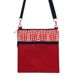 Red Wavy Dots fabric with waterproof Red Nylon & Navy Zipper  Ready-To-Ship Mini Square Crossbody Bag by Tutenago