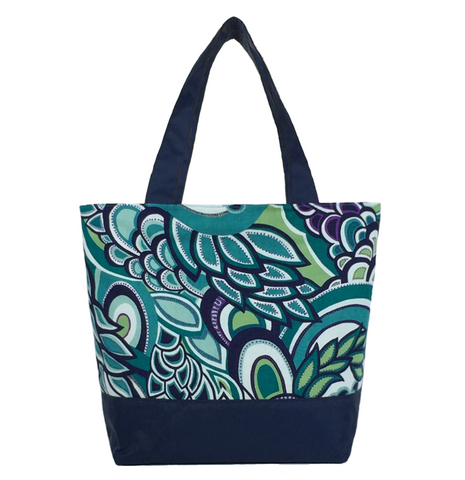 Teal Swirled Paisley with Waterproof Navy Nylon Ready-To-Ship Essential Tote Bag by Tutenago - The perfect women's oversized tote bag for work, beach, shopping or an everyday bag.