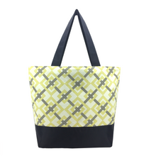 Load image into Gallery viewer, Yellow Squared with Waterproof Grey Nylon Ready-To-Ship Essential Tote Bag by Tutenago - The perfect women's oversized tote bag for work, beach, shopping or an everyday bag.