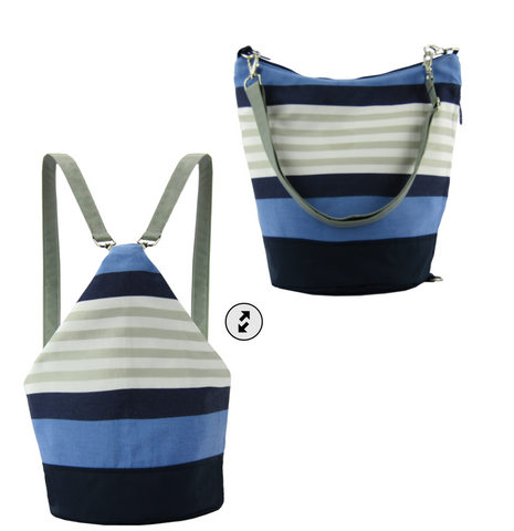 Blue Striped with Navy Convertible Backpack, Messenger Bag, Purse