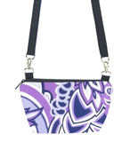 Tutenago Traveler Bum Bag and Small Crossbody Purse in Purple Swirled Paisley with Navy Nylon