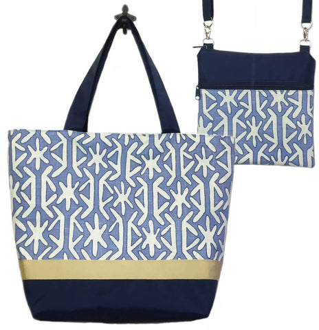 4631fe1b266b Navy Stars with Navy Nylon Sand Ribbon Essential Tote Bag Set by Tutenago -  The perfect