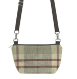 Tan Plaid with Waterproof Dark Brown Nylon Ready-To-Ship Traveler Waist Bag and Small Crossbody Purse by Tutenago