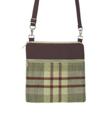 Tan Plaid with Waterproof Burgundy Nylon Ready-To-Ship Mini Square Crossbody Bag by Tutenago