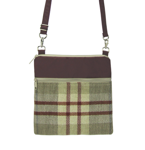 Tan Plaid with Burgundy Nylon Mini Square Crossbody Bag by Tutenago