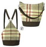 Tan Plaid with Waterproof Dark Brown Nylon Ready-To-Ship Women's Convertible Hobo bag by Tutenag