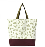 Puffs with Waterproof Burgundy & Sand Nylon Ready-To-Ship Essential Tote Bag by Tutenago - The perfect women's oversized tote bag for work, beach, shopping or an everyday bag.