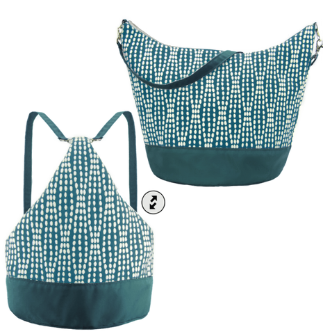 Teal Wavy Dots with Teal Nylon Women's Convertible Hobo bag by Tutenago