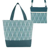 Teal Wavy Dots with Teal Nylon Essential Tote Bag Set by Tutenago