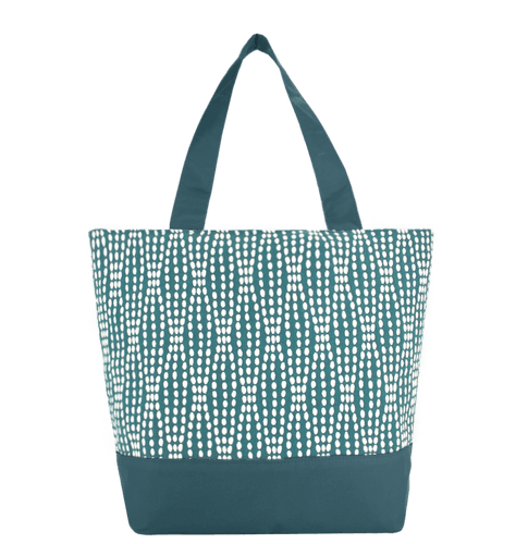 Teal Wavy Dots Essential Tote Bag by Tutenago - The perfect women's oversized tote bag for work, beach, shopping or an everyday bag.