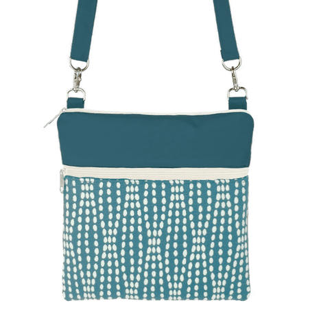 Teal Wavy Dots Mini Square Crossbody Tote Bag by Tutenago