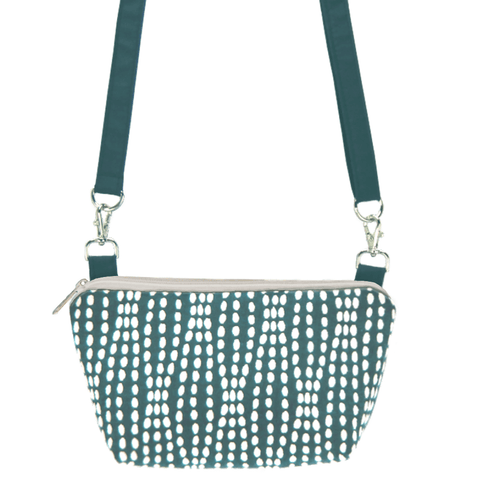 Teal Wavy Dots with Teal Nylon Traveler Bum Bag and Small Crossbody Purse by Tutenago