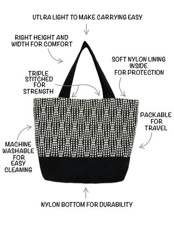 cba4ebaef89e Yellow Wavy Dots Essential Tote Bag with Grey Ribbon and Black Nylon by  Tutenago - The  Anatomy for Tutenago Essential Tote Bag for Women - A large  ...
