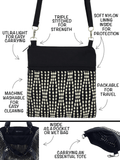 Anatomy of Tutenago Mini Square Crossbody Purse - A lightweight bag that is vegan and machine washable.