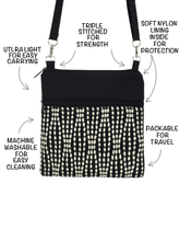 Load image into Gallery viewer, Anatomy of a Mini Square Cross Body Purse or Wet Bag by Tutenago