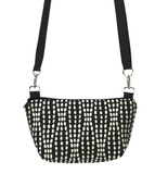 Black Wavy Dots with Black Nylon Traveler Bum Bag and Small Crossbody Purse by Tutenago