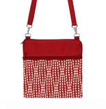 Red Wavy Dots with Red Nylon Mini Square Crossbody Bag by Tutenago
