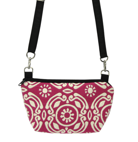 Pink Soleil with waterproof Black Nylon Ready-To-Ship Traveler Waist Bag and Small Crossbody Purse by Tutenago