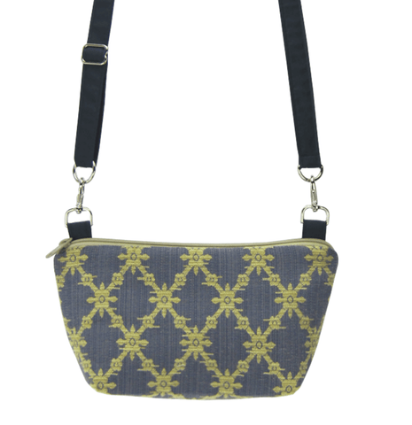 Trellis with Waterproof Navy Nylon Ready-To-Ship Traveler Waist Bag and Small Crossbody Purse by Tutenago