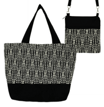 Load image into Gallery viewer, Black Wavy Dots Essential Tote Bag Set by Tutenago - The perfect women's oversized tote bag set to use as a diaper bag or beach bag with wet bag