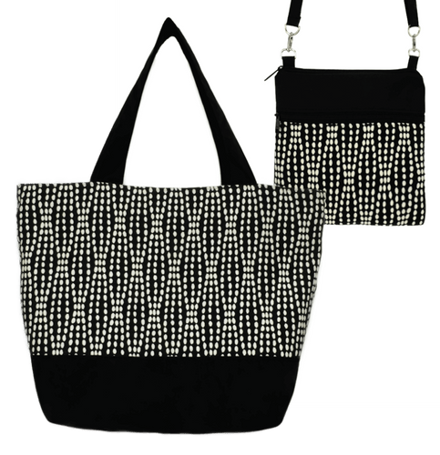 Black Wavy Dots Essential Tote Bag Set by Tutenago - The perfect women's oversized tote bag set to use as a diaper bag or beach bag with wet bag