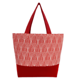 Red Wavy Dots Essential Tote Bag by Tutenago - The perfect women's oversized tote bag for work, beach, shopping or an everyday bag.