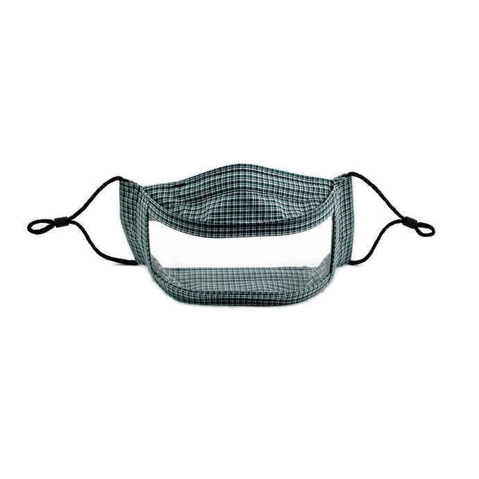 Artisan Green and White Plaid Clear Window Mask for Teachers, Deaf, Students, and ASL - Made in the USA