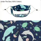 No Fog Window Mask - Dolphins, Manatees, Sea Horses, Turtles - Kids Cotton Fabric Theme
