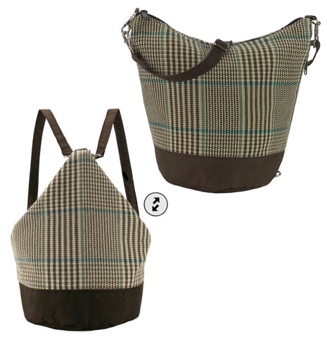 Tutenago Convertible Backpack Purse Handmade from Brown Waterproof Nylon and Upcycled Houndstooth Fabric