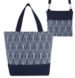 Navy Wavy Dots Essential Tote Bag Set by Tutenago - The perfect women's oversized tote bag set to use as a diaper bag or  beach bag with wet bag